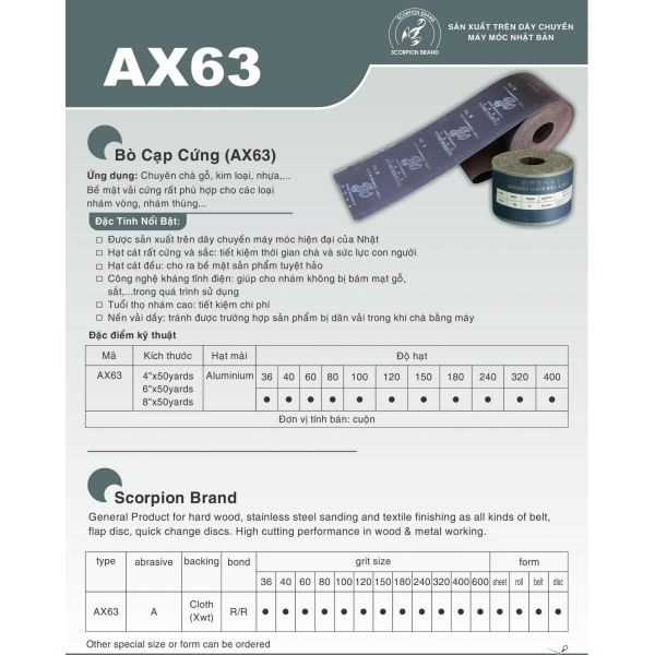Vải nhám Bò Cạp Cứng AX63 (Technology of Japan)